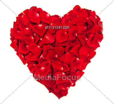 Heart Shape Made Out Of Rose Petals Isolated On White Stock Photo