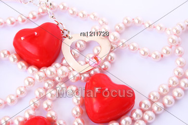 Heart Shape Red Candles And Necklace Stock Photo