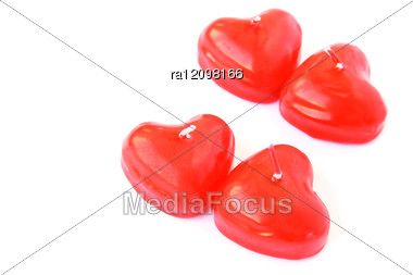 Heart Shape Red Candles Stock Photo