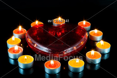 Heart, Surrounded Small Candles Light Stock Photo