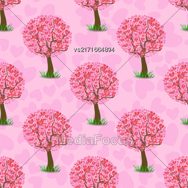 Heart Tree Pattern Isolated On Pink Background Stock Photo