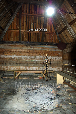 Hearth With Ashes Inside Abandoned Old Wooden Shack Stock Photo