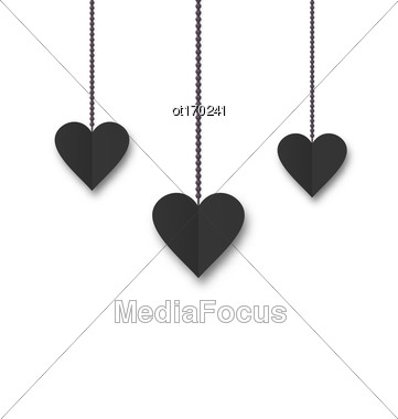 Hearts Of Black Paper Hanging On Strings On White Background. Valentine S Day Card - Vector Stock Photo