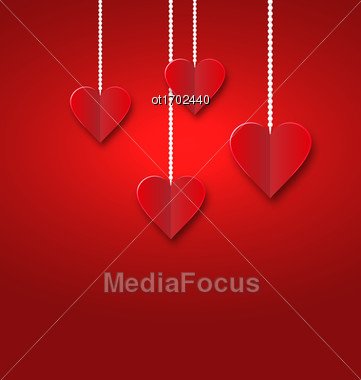 Hearts Of Red Paper Hanging On Strings On Red Background. Valentine S Day Card - Vector Stock Photo
