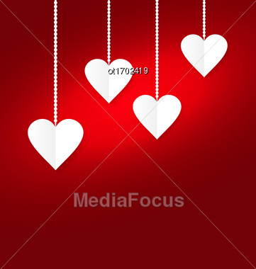 Hearts Of White Paper Hanging On Strings On Red Background. Valentine S Day Card - Vector Stock Photo