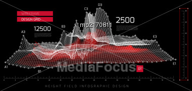 Height Field Infographic Design. Vector Illustration On Black Background Stock Photo