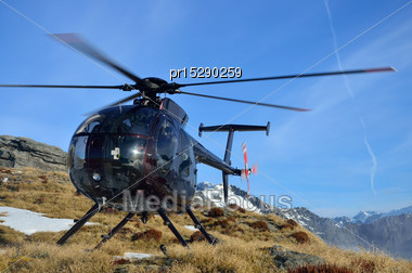 Helicopter Carrying Hunters In South Westland's Southern Alps, New Zealand Stock Photo