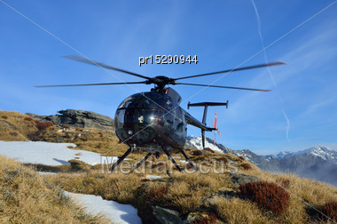 Helicopter Waiting For Hunters In South Westland's Southern Alps, New Zealand Stock Photo