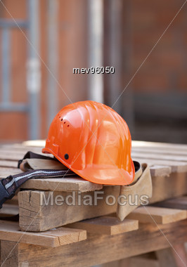 Helmet At Construction Area Stock Photo