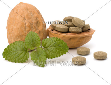 Herbal Pills Isolated On White Background. Alternative Medicine Concept Stock Photo