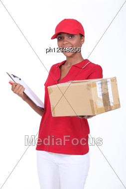 Here Is Your Package. Stock Photo