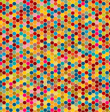 Hexagon Tiles Seamless Pattern, Retro Background Design Stock Photo