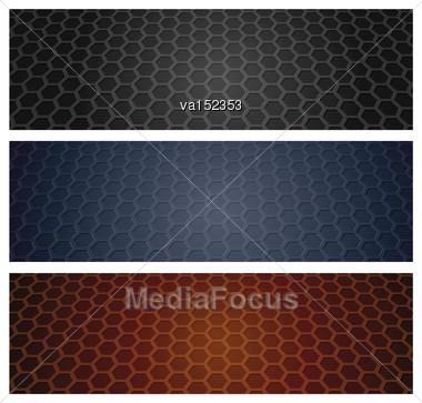 Hexagon Wen Headers Set Vector Illustration Stock Photo