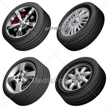 High Quality Vector Bundle Of Alloy Wheels, Isolated On White Background. File Contains Gradients, Blends And Transparency. No Strokes Stock Photo