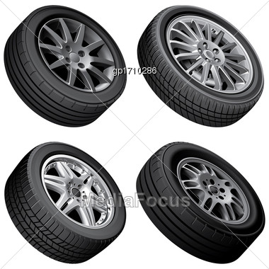 High Quality Vector Bundle Of Automobiles Alloy Wheels, Isolated On White Background. File Contains Gradients, Blends And Transparency. No Strokes Stock Photo