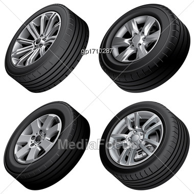 High Quality Vector Bundle Of Passenger Cars Alloy Wheels, Isolated On White Background. File Contains Gradients, Blends And Transparency. No Strokes Stock Photo