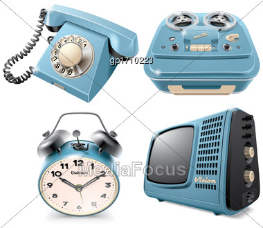 High Quality Vector Icons Of Vintage Objects: Rotary Dial Telephone, Reel-to-reel Audio Tape Recorder, Alarm Clock And Television Receiver, Isolated On White Background. File Contains Gradients, Blend Stock Photo