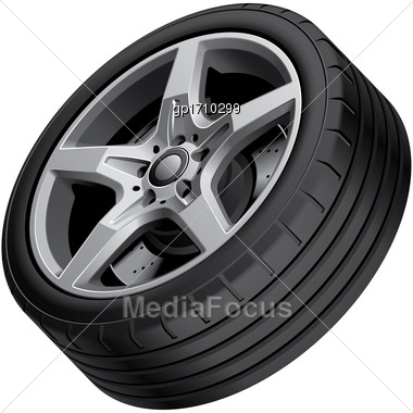 High Quality Vector Illustration Of Aluminium Alloy Wheel, Isolated On White Background. File Contains Gradients, Blends And Transparency. No Strokes. Easily Edit: File Is Divided Into Logical Groups Stock Photo
