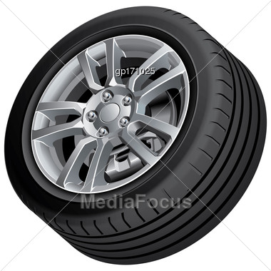 High Quality Vector Illustration Of Automobile Wheel, Isolated On White Background. File Contains Gradients, Blends And Transparency. No Strokes. Easily Edit: File Is Divided Into Logical Groups Stock Photo