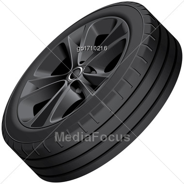 High Quality Vector Illustration Of Black Alloy Wheel, Isolated On White Background. File Contains Gradients, Blends And Transparency. No Strokes. Easily Edit: File Is Divided Into Logical Groups Stock Photo