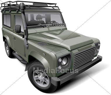 High Quality Vector Illustration Of British Off-road Utility Vehicle, Isolated On White Background. File Contains Gradients, Blends And Transparency. No Strokes. Easily Edit: File Is Divided Into Logi Stock Photo