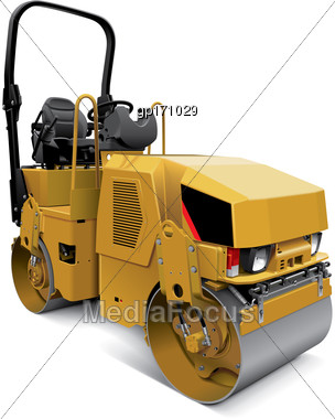 High Quality Vector Illustration Of Compact Tandem Vibratory Roller, Isolated On White Background. File Contains Gradients, Blends And Transparency. No Strokes. Easily Edit: File Is Divided Into Logic Stock Photo