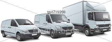 High Quality Vector Illustration Of European Commercial Vehicles Lineup, Isolated On White Background. File Contains Gradients, Blends And Transparency. No Strokes. Easily Edit: File Is Divided Into L Stock Photo