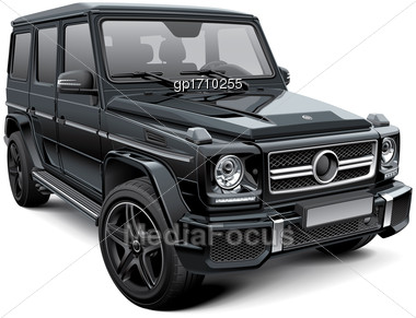 High Quality Vector Illustration Of European Mid-size Luxury SUV, Isolated On White Background. File Contains Gradients, Blends And Transparency. No Strokes. Easily Edit: File Is Divided Into Logical  Stock Photo