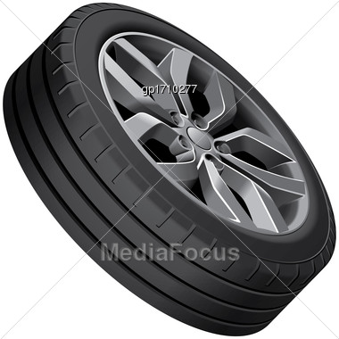 High Quality Vector Illustration Of Light Alloy Wheel, Isolated On White Background. File Contains Gradients, Blends And Transparency. No Strokes. Easily Edit: File Is Divided Into Logical Groups Stock Photo