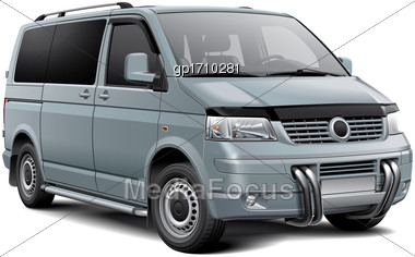 High Quality Vector Illustration Of Silver European Passenger Van With Roo Bar, Isolated On White Background. File Contains Gradients, Blends And Transparency. No Strokes. Easily Edit: File Is Divided Stock Photo