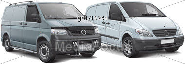 High Quality Vector Illustration Of Two Cargo Panel Vans, Isolated On White Background. File Contains Gradients, Blends And Transparency. No Strokes. Easily Edit: File Is Divided Into Logical Layers A Stock Photo