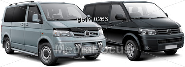 High Quality Vector Illustration Of Two Compact Passenger Vans, Isolated On White Background. File Contains Gradients, Blends And Transparency. No Strokes. Easily Edit: File Is Divided Into Logical La Stock Photo