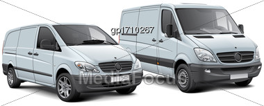High Quality Vector Illustration Of Two Light Commercial Vehicles, Isolated On White Background. File Contains Gradients, Blends And Transparency. No Strokes. Easily Edit: File Is Divided Into Logical Stock Photo