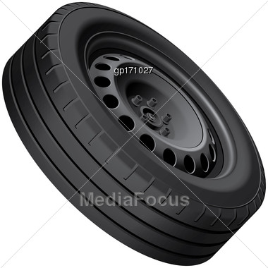 High Quality Vector Illustration Of Typical Automobiles Wheel With Pressed Disc, Isolated On White Background. File Contains Gradients, Blends And Transparency. No Strokes Stock Photo