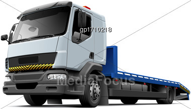 High Quality Vector Illustration Of Typical Flatbed Recovery Vehicle Based On Light Truck, Isolated On White Background. File Contains Gradients, Blends And Transparency. No Strokes. Easily Edit: File Stock Photo