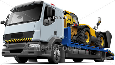 High Quality Vector Illustration Of Typical Flatbed Recovery Vehicle Based On Light Truck With Telescopic Handler Isolated On White Background. File Contains Gradients, Blends And Transparency. No Str Stock Photo