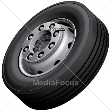 High Quality Vector Illustration Of Typical Light Truck Fore Wheel, Isolated On White Background. File Contains Gradients, Blends And Transparency. No Strokes Stock Photo