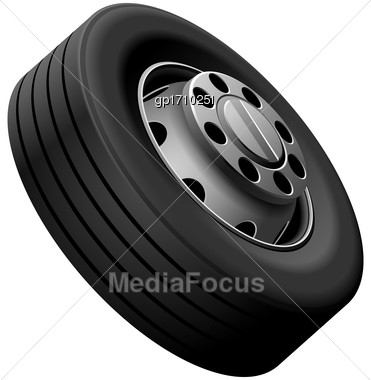 High Quality Vector Illustration Of Typical Light Lorry Fore Wheel, Isolated On White Background. File Contains Gradients, Blends And Transparency. No Strokes Stock Photo