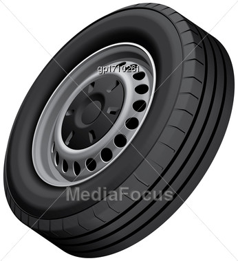 High Quality Vector Illustration Of Typical Light Vans Wheel With Pressed Disc, Isolated On White Background. File Contains Gradients, Blends And Transparency. No Strokes Stock Photo