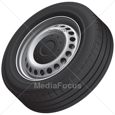 High Quality Vector Illustration Of Typical Vans Wheel With Pressed Disc, Isolated On White Background. File Contains Gradients, Blends And Transparency. No Strokes Stock Photo