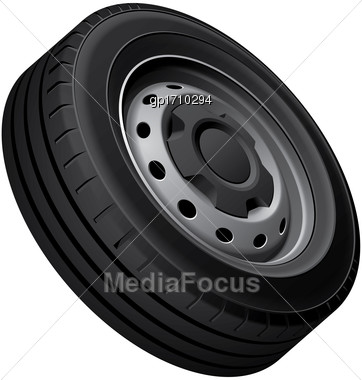 High Quality Vector Illustration Of Typical Wheel With Pressed Disc, Isolated On White Background. File Contains Gradients, Blends And Transparency. No Strokes Stock Photo