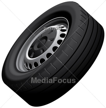 High Quality Vector Illustration Of Vans Wheel With Pressed Disc, Isolated On White Background. File Contains Gradients, Blends And Transparency. No Strokes Stock Photo