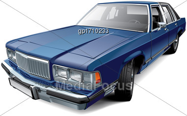 High Quality Vector Illustration Of Vintage American Full-size Luxury Sedan, Isolated On White Background. File Contains Gradients, Blends And Transparency. No Strokes. Easily Edit: File Is Divided In Stock Photo