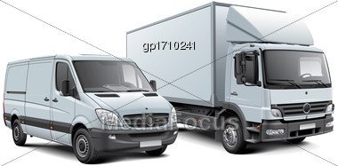 High Quality Vector Illustration Of White Box Truck And Light Goods Vehicle, Isolated On White Background. File Contains Gradients, Blends And Transparency. No Strokes. Easily Edit: File Is Divided In Stock Photo