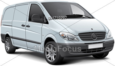 High Quality Vector Illustration Of White Cargo Panel Van, Isolated On White Background. File Contains Gradients, Blends And Transparency. No Strokes. Easily Edit: File Is Divided Into Logical Layers  Stock Photo