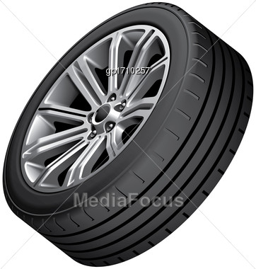 High Quality Vector Image Of Alloy Wheel With Low-profile Tire, Isolated On White Background. File Contains Gradients, Blends And Transparency. No Strokes Stock Photo