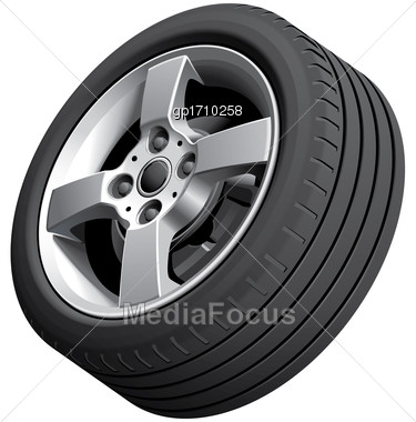 High Quality Vector Image Of Alloy Wheel, Isolated On White Background. File Contains Gradients, Blends And Transparency. No Strokes Stock Photo