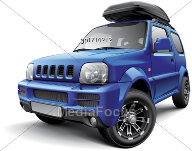 High Quality Vector Image Of Asian Off-road Mini SUV With Roof Bag, Isolated On White Background. File Contains Gradients, Blends And Transparency. No Strokes. Easily Edit: File Is Divided Into Logica Stock Photo