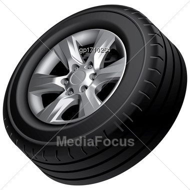 High Quality Vector Image Of Automobile Wheel, Isolated On White Background. File Contains Gradients, Blends And Transparency. No Strokes Stock Photo