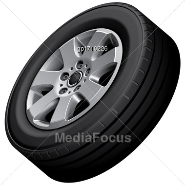 High Quality Vector Image Of Automotive Wheel, Isolated On White Background. File Contains Gradients, Blends And Transparency. No Strokes Stock Photo